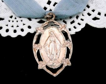 Vintage French Silver Virgin Mary Medal