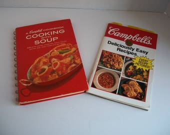 Campbell Cookbooks - 1970's A Campbell Cookbook Cooking with Soup - 1992 Cambell's Deliciously Easy Recipes - Vintage Campbell's Cookbooks