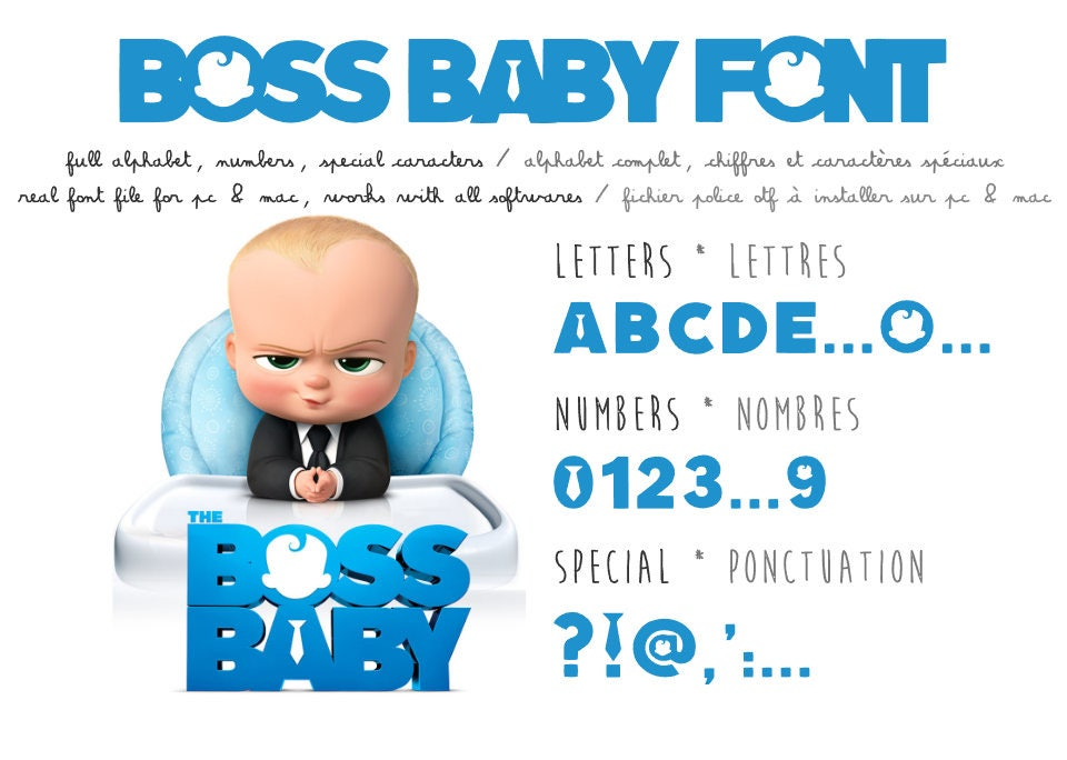 boss baby font - real ttf to install - compatible pc and mac
