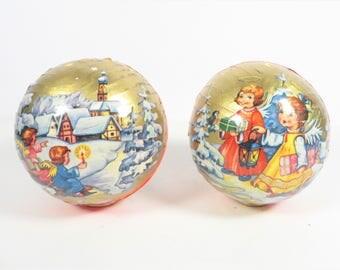 Vintage West German Cardboard Christmas Candy Containers - Two Western Germany Cardboard Christmas Balls