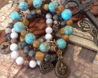 Rustic Bracelet Stack Fleur De Lis Women's Gemstone Bracelet Boho Arm Party