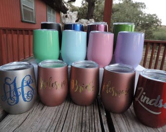 Personalized Stemless Wine Glass 26 COLORS - Bridesmaid Gifts, Stainless Steel Tumbler, Powdered Wine Cup With Lid