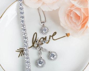 Bridesmaid Gifts | Bridesmaid Earrings | Bridal Earrings | Wedding Jewelry | Bridesmaid Sets | Earring & Necklace Set | Dangle Earrings