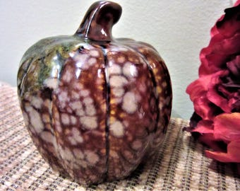 Pumpkin Glazed Fall Home Decor Ceramic Spotted Crystals Pottery Vintage blm