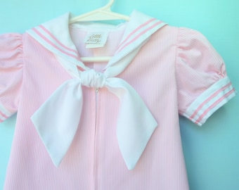 Vintage Pink and White Pinstriped Infant Sailor Romper  by Little Bitty   12 Months