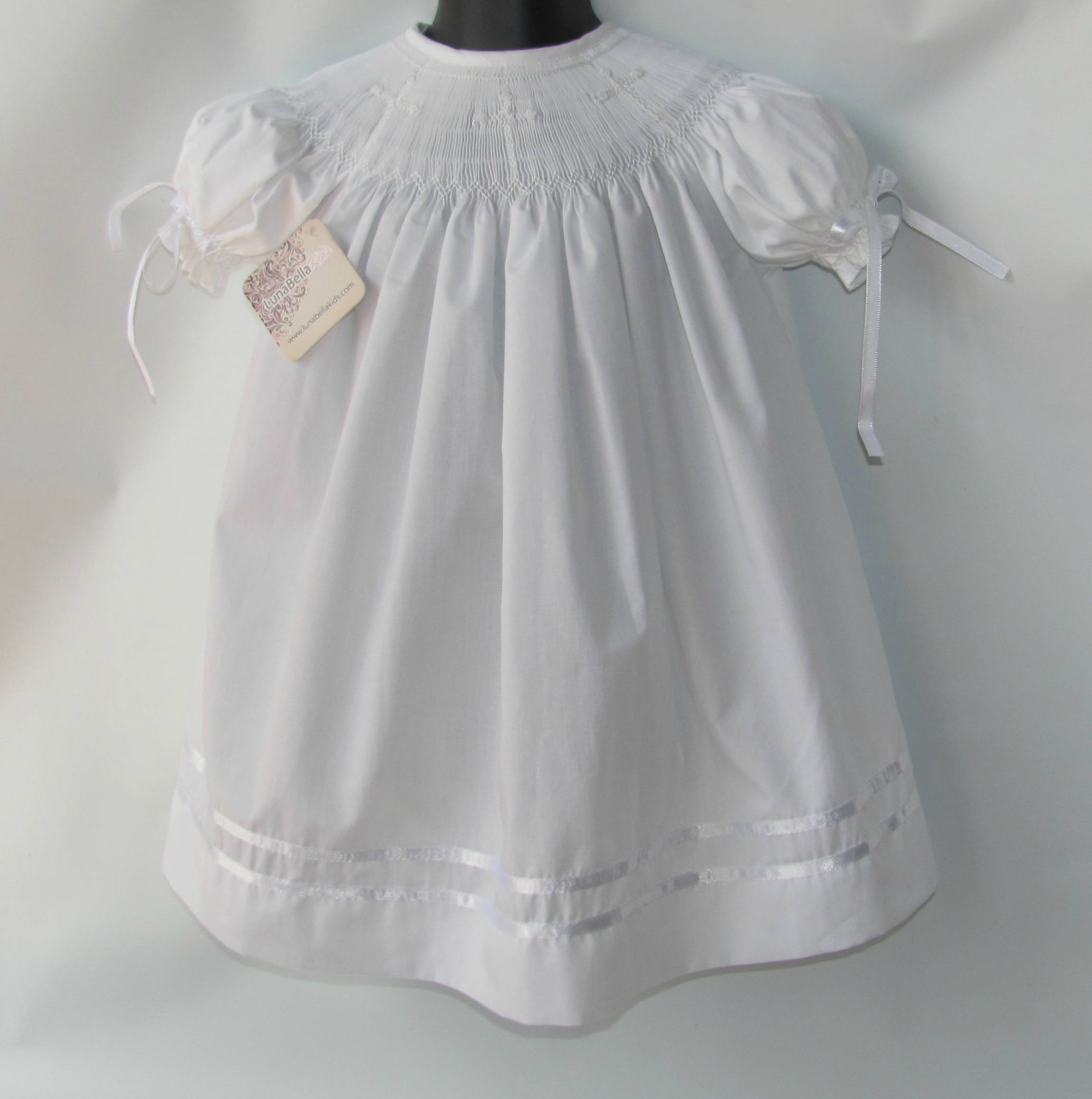Smocked Christening Dress Smock White Dress Smock Baby Dress