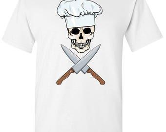 Chef Skull and Bone Knives Men's White T shirt