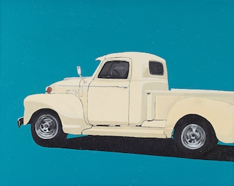 SALE! Butter Yellow Chevy original painting