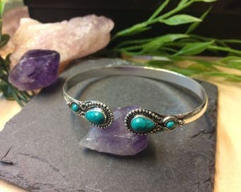Turquoise Silverplated Brass Bracelet