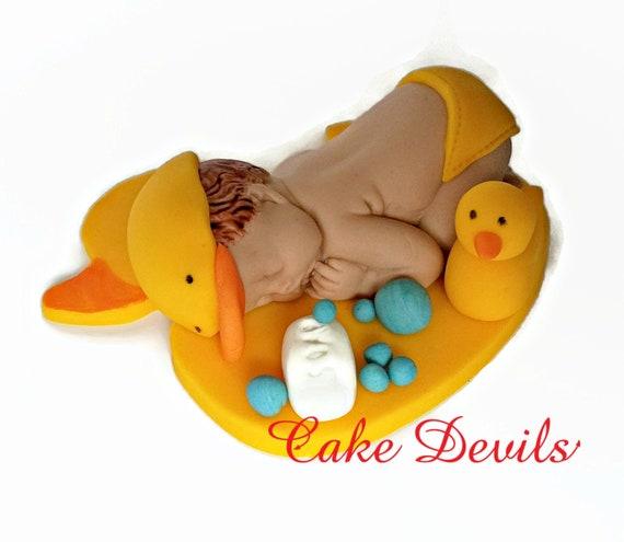 sleeping baby duck fondant cake topper rubber ducky baby shower