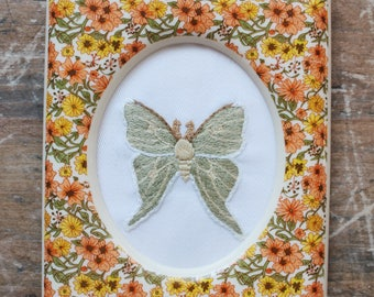 Luna moth framed embroidery. embroidery art. embroidered. hand embroidery. modern embroidery. wall art. small art. floral art. insect art.