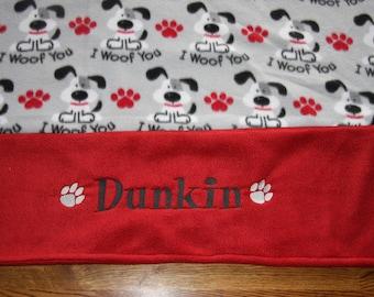 MADE TO ORDER - Reversible Personalized Dog Blanket  Embroidered Pet Blanket Custom dog blanket Fleece dog blanket dog gifts puppy blanket