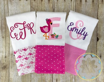 Baby Girl Gift Set - set of 3 personalized, monogrammed flamingo burp cloths - baby gift - baby shower gift
