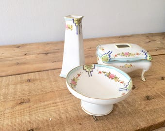 Four piece Nippon Handpainted Porcelain Vanity Dresser Set w/ Footed Powder Dish, Vase and Ring Compote, Christmas or Birthday Gift for Her