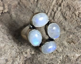 Rainbow Moonstone + Sterling Silver .925 ring size 9
