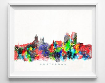 Amsterdam Skyline Print, Netherlands Print, Amsterdam Poster, Dutch Cityscape, Watercolor Painting, Art, City Skyline, Mothers Day Gift
