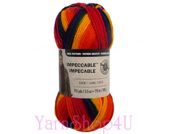RAINBOW BRIGHT Loops & Threads Impeccable Brights Yarn is a Colorful Yarn in Deep Orange Yellow Blue Red Green colors. 100% Acrylic