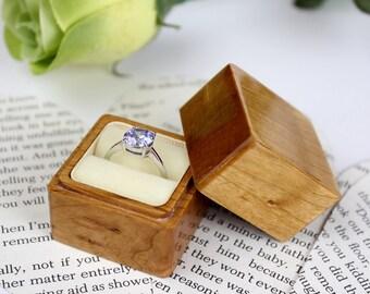 Wood Ring Box, Wood Ring Bearer Box, Wedding Ring Box in Cherry Wood