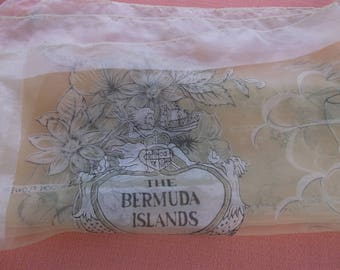 """Vintage 1950s Sheer Bermuda Islands Yellow Scarf, Large 27"""" Square with Bermuda Map and Scenery, Gorgeous!"""