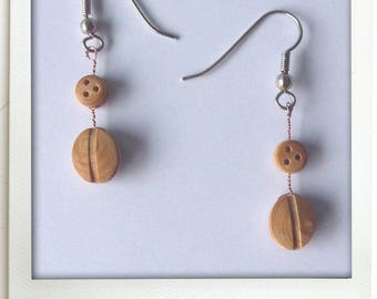 Boxwood pulleys oval earrings