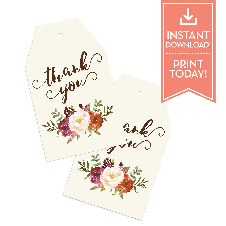 Thank You Tags Tea Bag Bridal Shower Favor Tags Baby