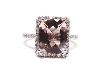 14K White Gold Diamond Natural Cushion Cut Morganite Halo Engagement Ring Wedding Ring Art Deco Ring Anniversary Ring Promise Ring Rose Gold