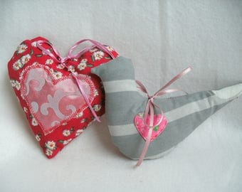 Heart and bird made of cotton fabric