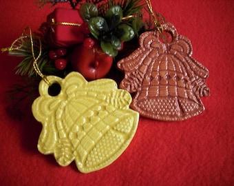 2 Christmas pendants, bells made of ceramic