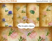 80% Off Spring Sale La Hortensia 5 x Shabby Chic Digital Paper 5 x 7 inches Vintage Hydrangea Victorian Flower Scrapbooking Paper Background