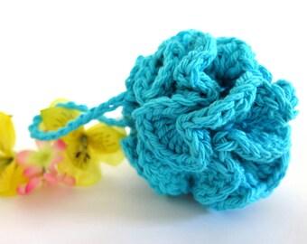 Crochet Blue Turquoise Facial Pouf Cotton Scrubbie Baby Bath Loofah