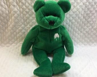 Beanie Baby, Ty Beanie Baby, Erin the Bear, Bear Plush, Erin Beanie Baby,   Ty Bears, Ty Babies, Shamrock Bear, Ty Green bears, Green Bears
