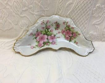 Porcelain Floral Bone Dish, Trinket Dish, Soap Dish, Guest Soap Dish, Gold Trim,  Bone Dish