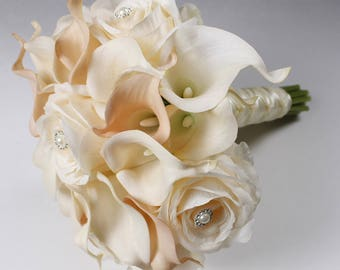 Wedding  Bouquet Real Touch Blush Pink Calla Lily Bridal Bouquet Calla Lily Bouquet Ivory Bouquet