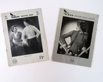 Vintage 1940s knitting pattern booklets x 2 - Paton's   mainly women's designs some children's