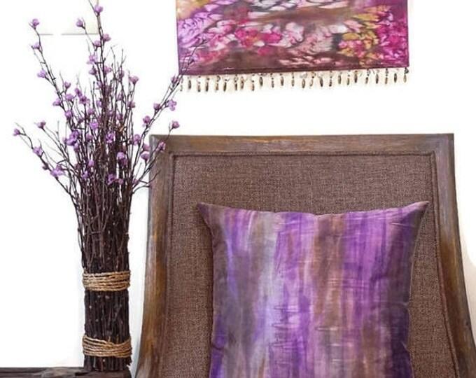 SALE Striped Purple  Pillow Cover 18x18-Watercolor Silk Pillow-Zen Decor-Cottage Decor-Bohemian Decor-Gift
