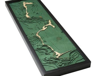 Eleuthera, Bahamas Wood Carved Topographic Depth Map