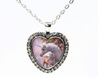 Unicorn Antique Silver and Rhinestone  Heart Necklace  - I Love Unicorns - Baby Unicorn - Fantasy Pendant - Sparkle