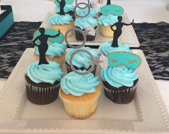 Breakfast at Tiffany's Party Cupcake Toppers (Bridal Shower, Bachelorette Party, Breakfast at Tiffany's Party)