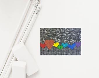 "Pride Sticker, 2""x3"" Vinyl Decal, UV Coated, Car Decal, Rainbow Hearts, LGBTQ, Gay Pride"
