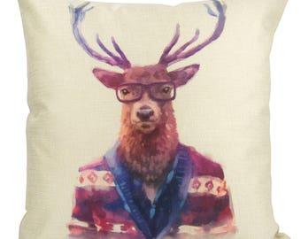 Elk | Pillow Cover | Wilderness | Throw Pillow | Home Decor | Rustic Decor | 18 x 18 | Hipster Animal Art | Forest Animals | Cabin Decor