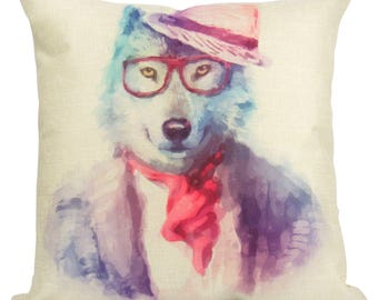 Hipster Wolf - Pillow Cover
