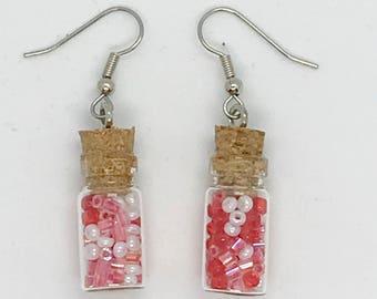 Valentine seed bead jar earrings