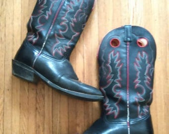 GEMINI SALE Men's Vintage Embroidered Cowboy Leather Boots / Black Leather Boots / Rockabilly / Size 11 1/2 D Us/ Rocker / Southwestern