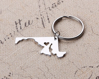 I heart Maryland Keychain - Maryland Map Keychain - State Keyring - Map Key chains - Can be made with any state or country