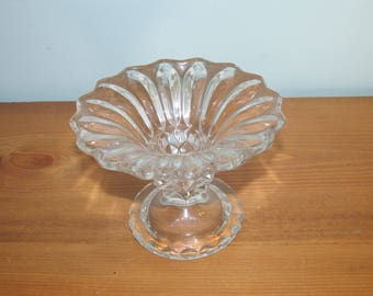 Antique Tapered Candle Holder Clear Glass