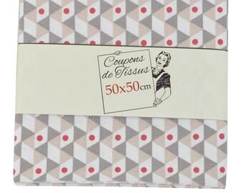 "Cut of fabric 100% cotton ""Noho red"" 50cm X 50 cm"