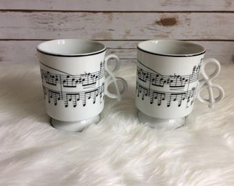 Vtg Colonial Cape Cod Music Mugs Set 2 Sheet Music Notes Footed Treble Clef