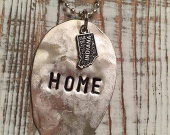 Home hand stamped spoon necklace