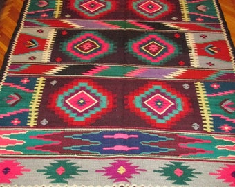 Antique Romanian traditional carpet, kilim, two sided wool rug from Transylvania , traditional Eastern European kilim rug - code 81
