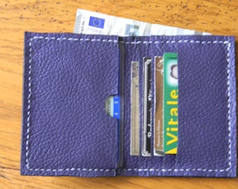 Handmade small purple colour leather wallet